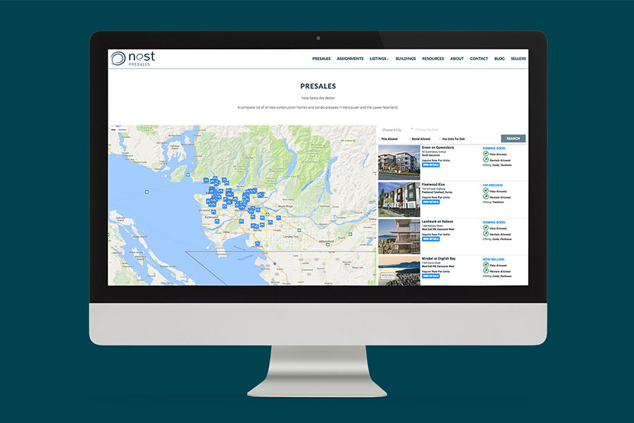 Vancouver and Burnaby Presales Map Search Website Design