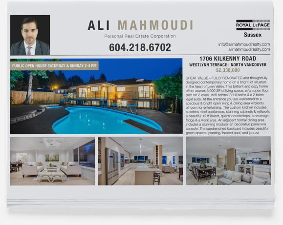 Realtor Branding for Ali Mahmoudi print branding (North Vancouver)