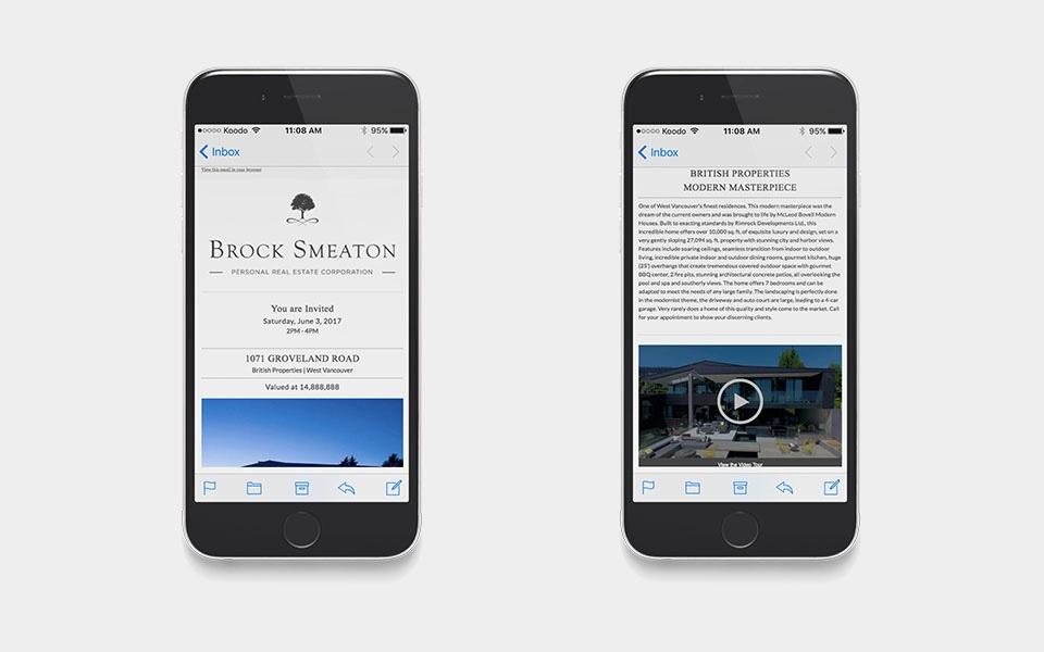 Realtor website design email display for Brock Smeaton, West Vancouver