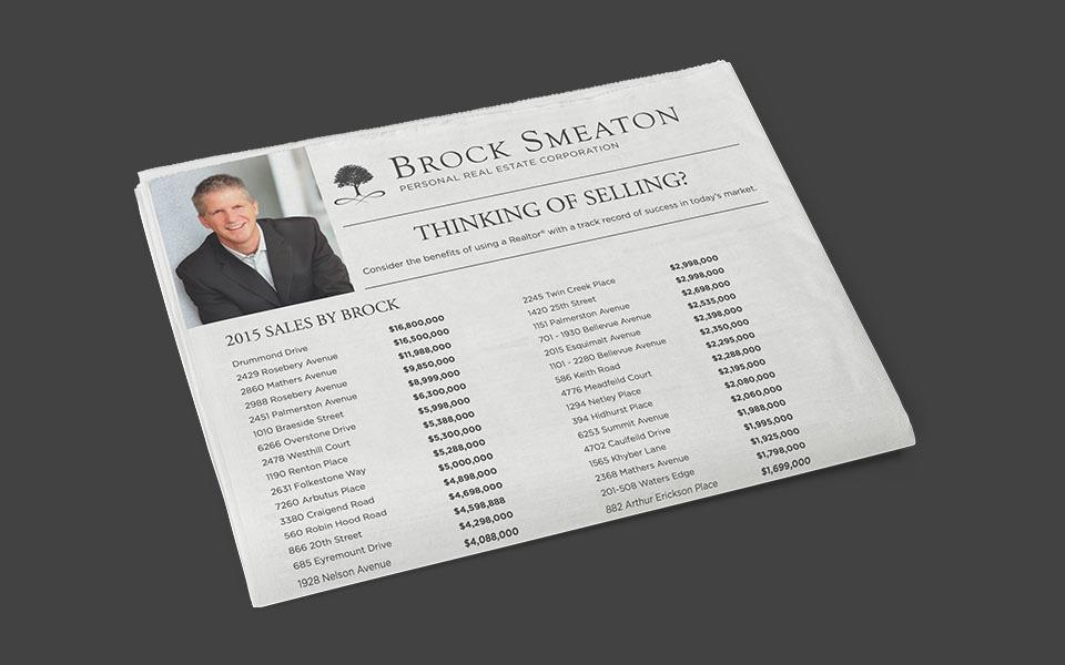 Realtor print media marketing for Brock Smeaton, West Vancouver