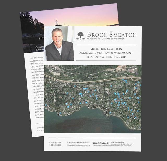 Realtor Print and Digital Media Branding design for Brock Smeaton, West Vancouver
