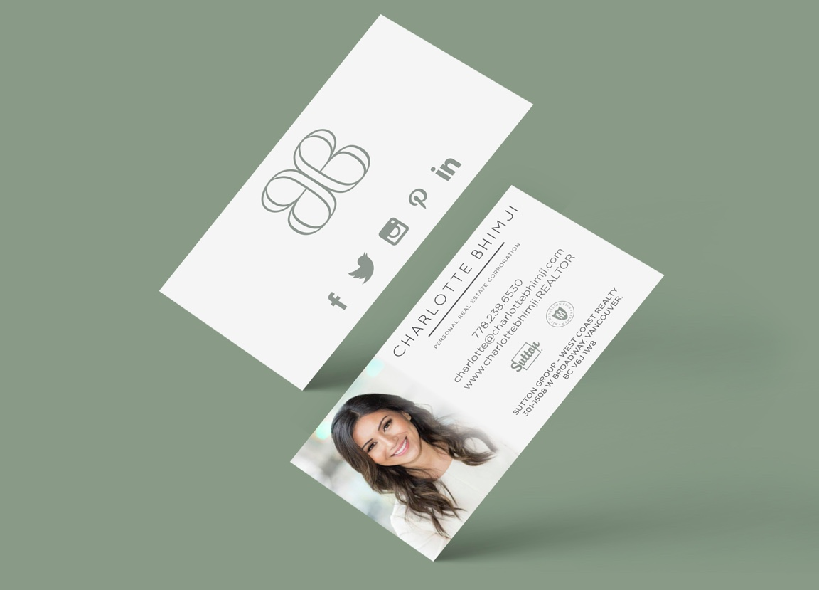 Realtor branding for Charlotte Bhimji business card design