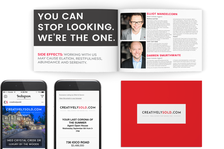 Real estate agent marketing - print and digital media design for creativelysold.com