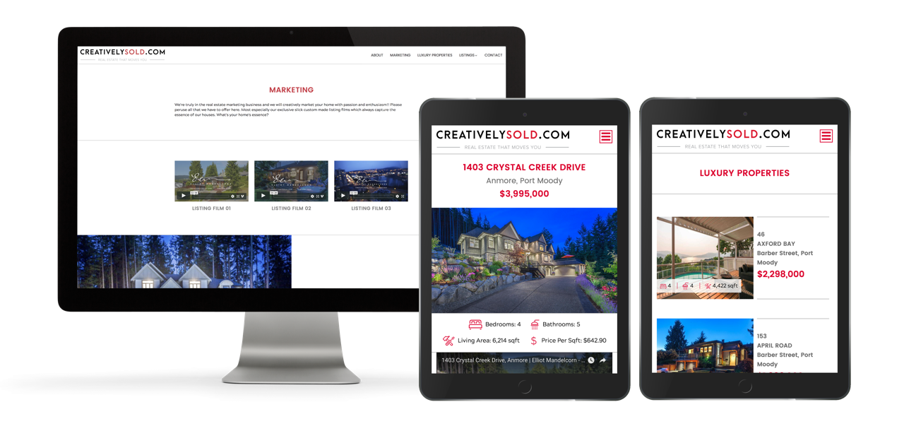 Real estate agent marketing - website design for creativelysold.com