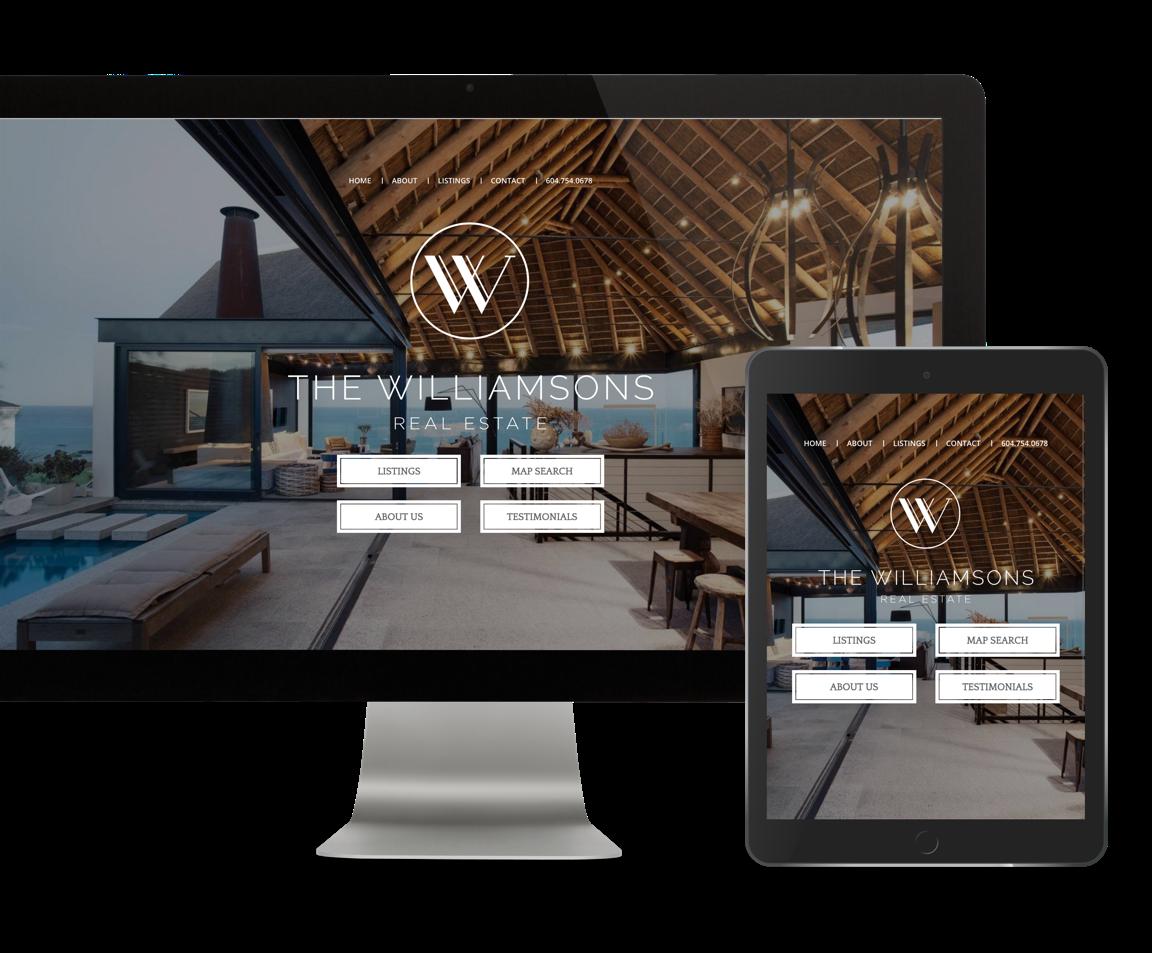 Real estate agent custom web design and branding, The Williamsons showcase