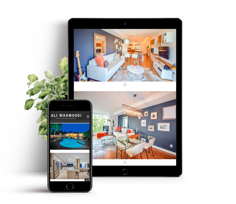 Real estate agent custom web design and branding, Ali Mahmoudi image gallery design
