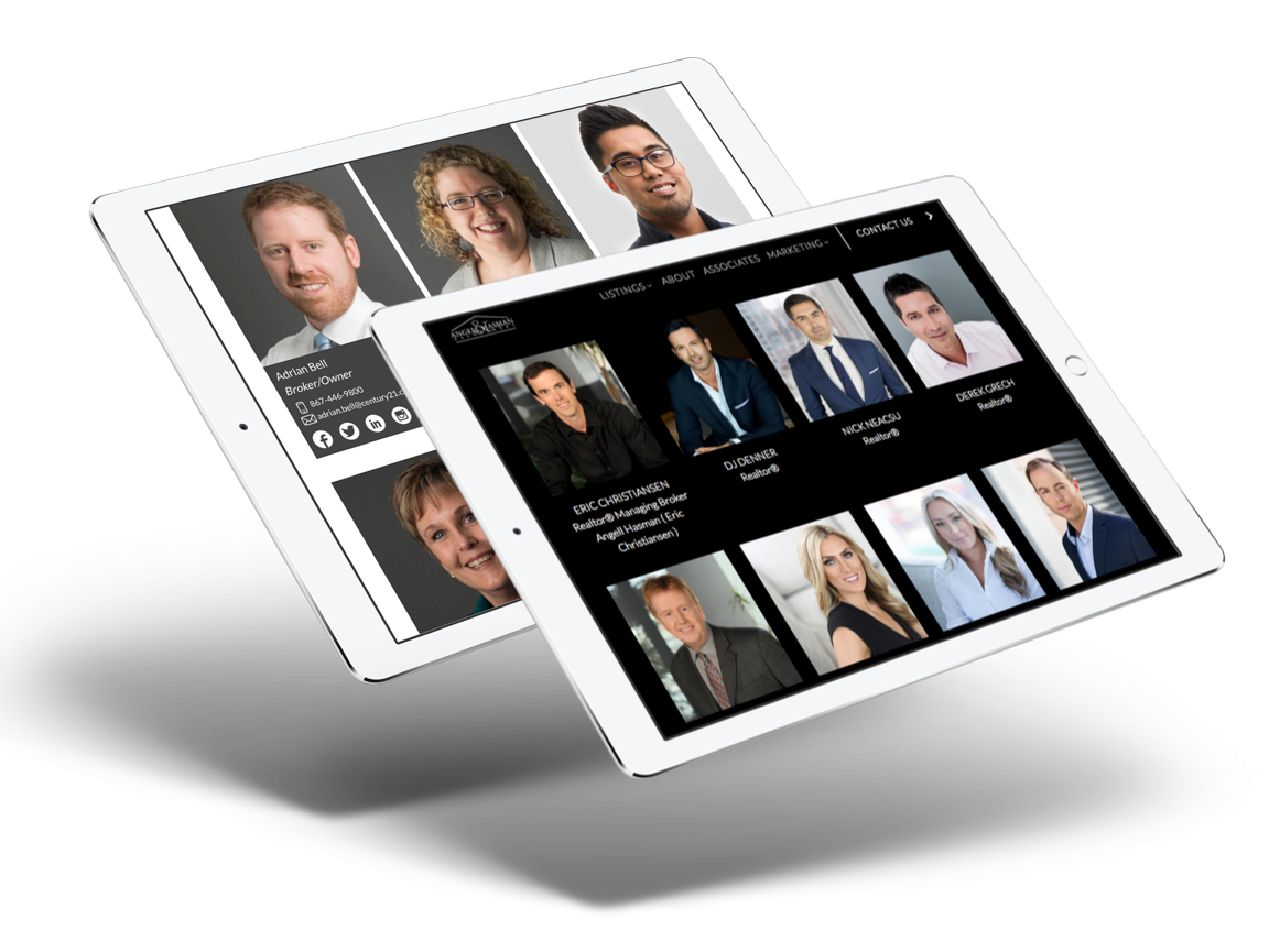 Real estate agent custom web design and branding, customized team page sample design
