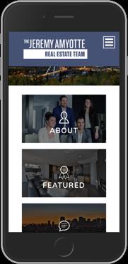 Jeremy Amyotte Real Estate Team Branding and Website Design Brixwork Real Estate Marketing - mobile web design view