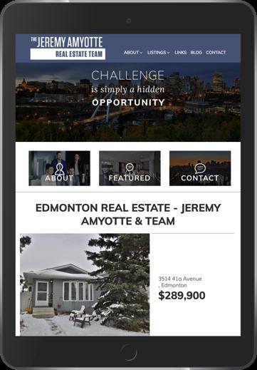 Jeremy Amyotte Real Estate Team Branding and Website Design Brixwork Real Estate Marketing -tablet web design view