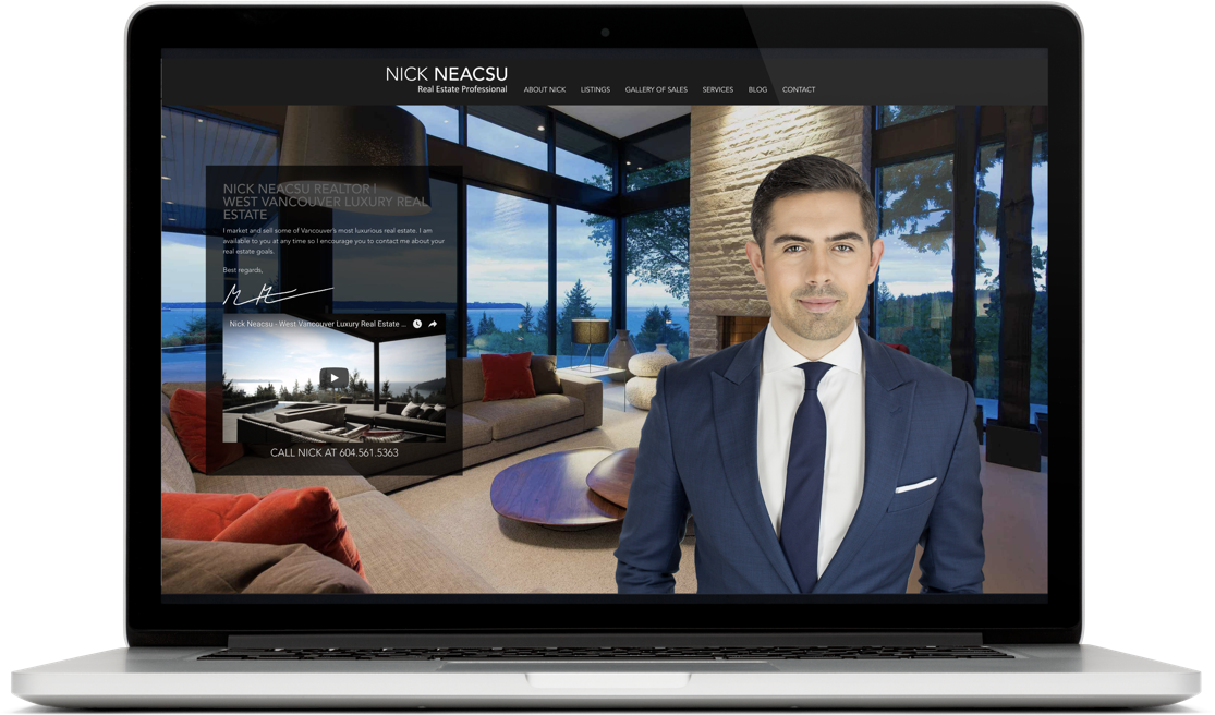 Nick Neacsu real estate agent website laptop design display
